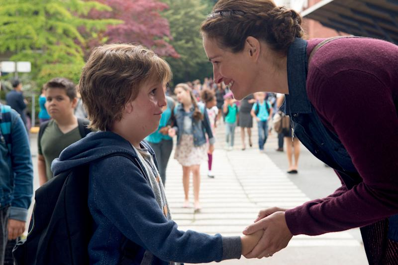 "Jacob Tremblay and Julia Roberts in ""Wonder,"" based on the bestseller by R.J. Palacio."