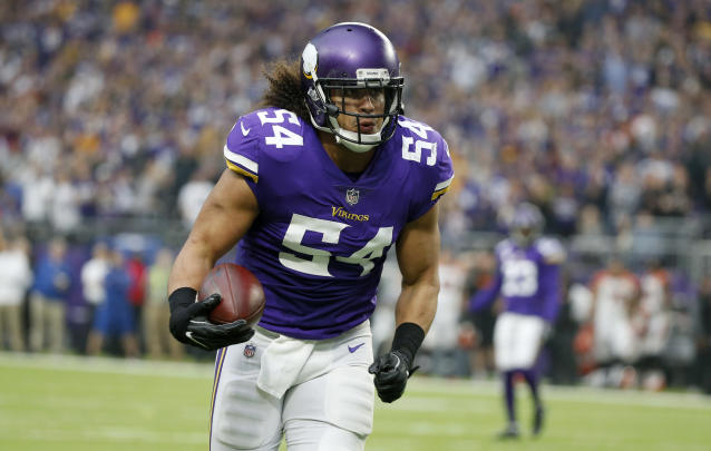 Vikings inside linebacker Eric Kendricks returns an interception for a touchdown this season against the Cincinnati Bengals. (AP)