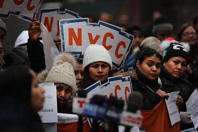 NYC demonstrators protesting the federal government shutdown. (Photo: Spencer Platt/Getty Images)