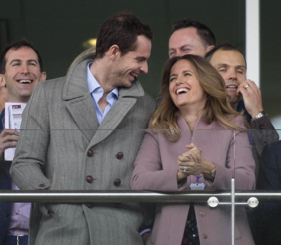 Photo by: zz/KGC-09/STAR MAX/IPx 2019 3/13/19 Andy Murray and his wife Kim Sears at the Cheltenham Festival. (Cheltenham, England, UK)