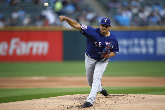 Texas Rangers starting pitcher Ariel Jurado delivers during the first inning of the team's baseball game against the Chicago White Sox on Thursday, Aug. 22, 2019, in Chicago. (AP Photo/Jeff Haynes)