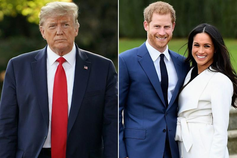 From left: President Donald Trump, Prince Harry and Meghan Markle | MANDEL NGAN/AFP via Getty; Samir Hussein/WireImage