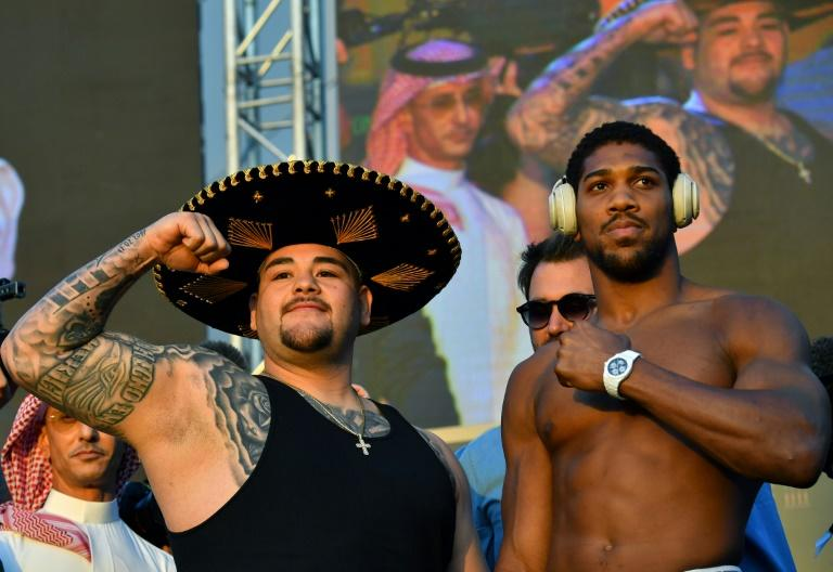 Ruiz and Joshua at the weigh-in ahead of controversial rematch