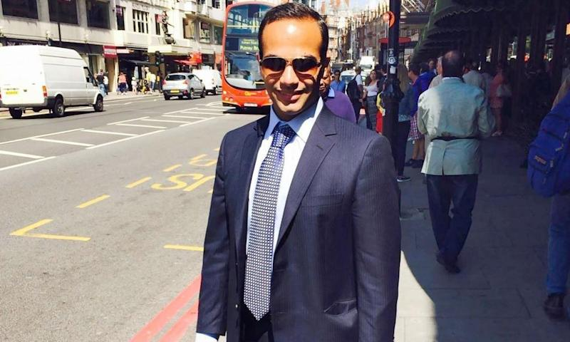 George Papadopoulos in London. US officials told the NYT it was Papadopoulos's revelation, not the infamous Steele dossier, that lead to Russia inquiry.