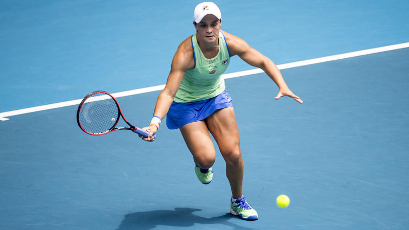 Ash Barty, pictured here in action at the Australian Open.