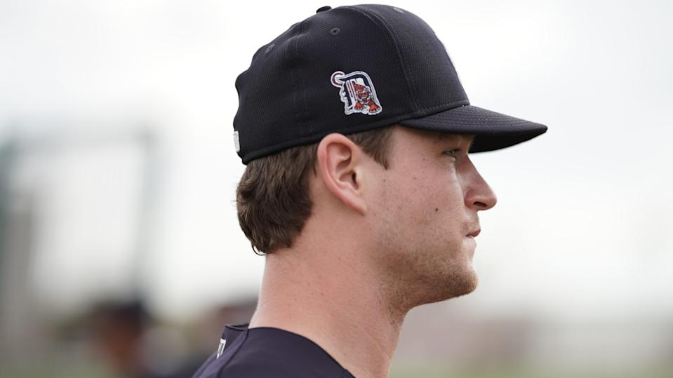 Detroit Tigers catcher Dillon Dingler watches practice during spring training Feb. 19, 2021, in Lakeland, Florida.