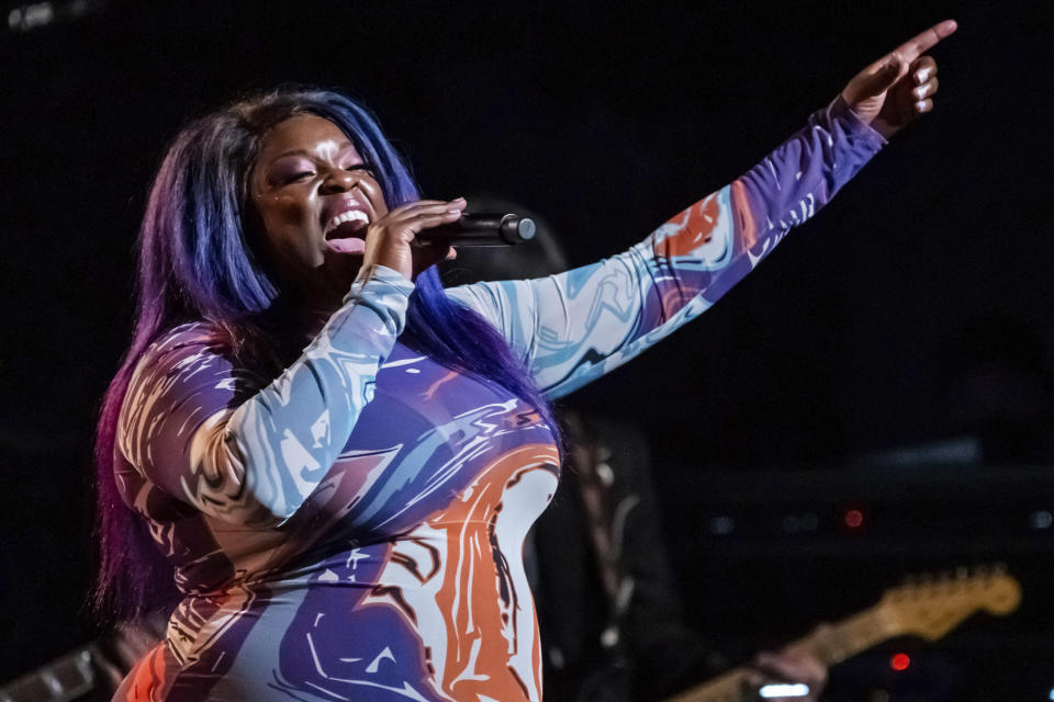 """FILE - Yola performs at the fifth annual Love Rocks NYC concert to benefit God's Love We Deliver in New York on June 3, 2021. Yola's latest album """"Stand For Myself"""" released on July 30. (Photo by Charles Sykes/Invision/AP, File)"""