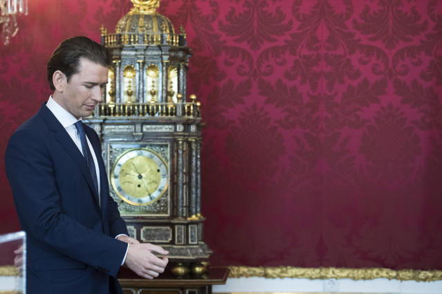 Austrian Chancellor Sebastian Kurz, attend an inauguration ceremony at Hofburg palace in Vienna, Austria, Tuesday, May 21, 2019. Austrian Chancellor Sebastian Kurz has called for an early election after the resignation of his vice chancellor Heinz-Christian Strache from the Freedom Party spelled an end to his governing coalition. (AP Photo/Michael Gruber)