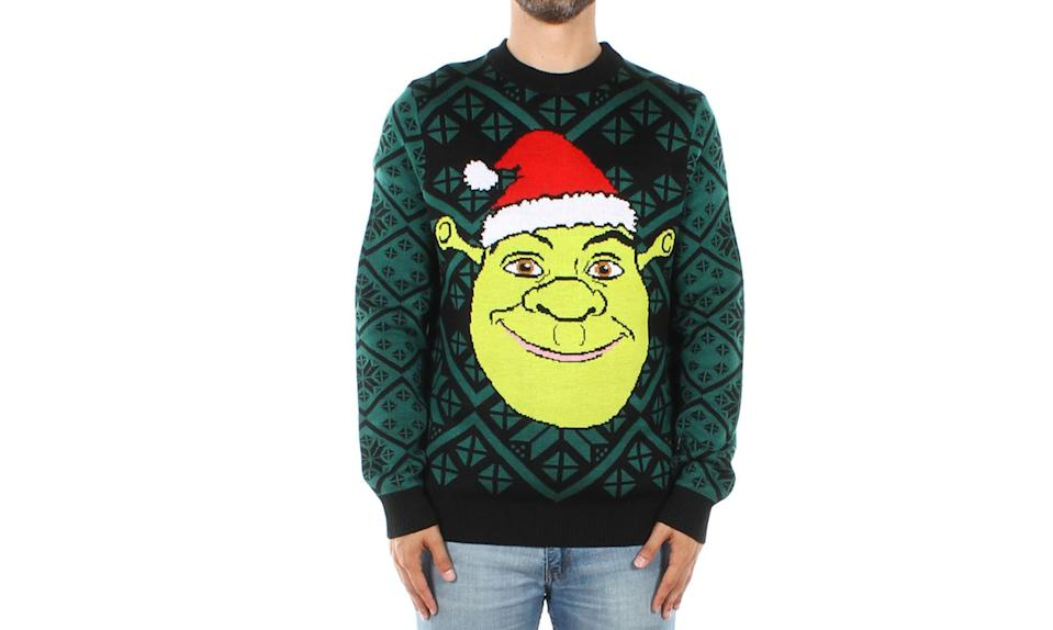 """<p>Put a Santa hat on him and the swamp ogre gets you right into the holiday mood. <strong><a rel=""""nofollow noopener"""" href=""""https://www.tipsyelves.com/mens-shrek-sweater"""" target=""""_blank"""" data-ylk=""""slk:Buy here"""" class=""""link rapid-noclick-resp"""">Buy here</a></strong> </p>"""