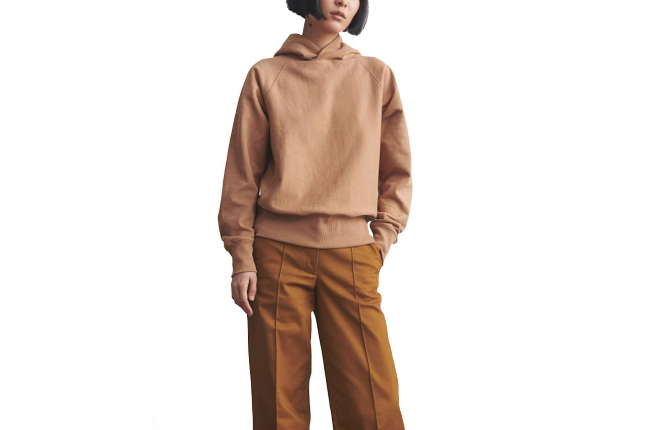 """$100, Thakoon. <a href=""""https://thakoon.com/collections/all/products/hooded-sweatshirt-camel"""">Get it now!</a>"""