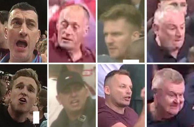 Police want to identify these eight Aston Villa fans (Picture: PA/MEt Police)