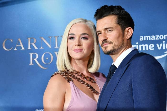 """Katy Perry and Orlando Bloom arrive at the LA Premiere Of Amazon's """"Carnival Row"""" at TCL Chinese Theatre on August 21, 2019 in Hollywood, California"""