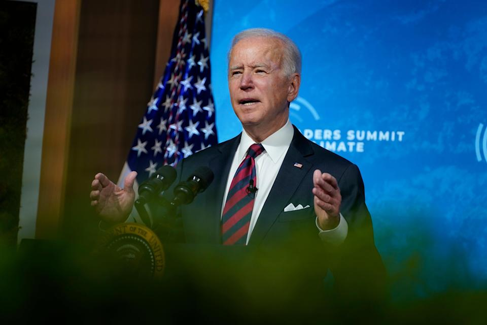 President Joe Biden speaks to the virtual Leaders Summit on Climate, from the East Room of the White House, Thursday, April 22, 2021, in Washington. (AP)