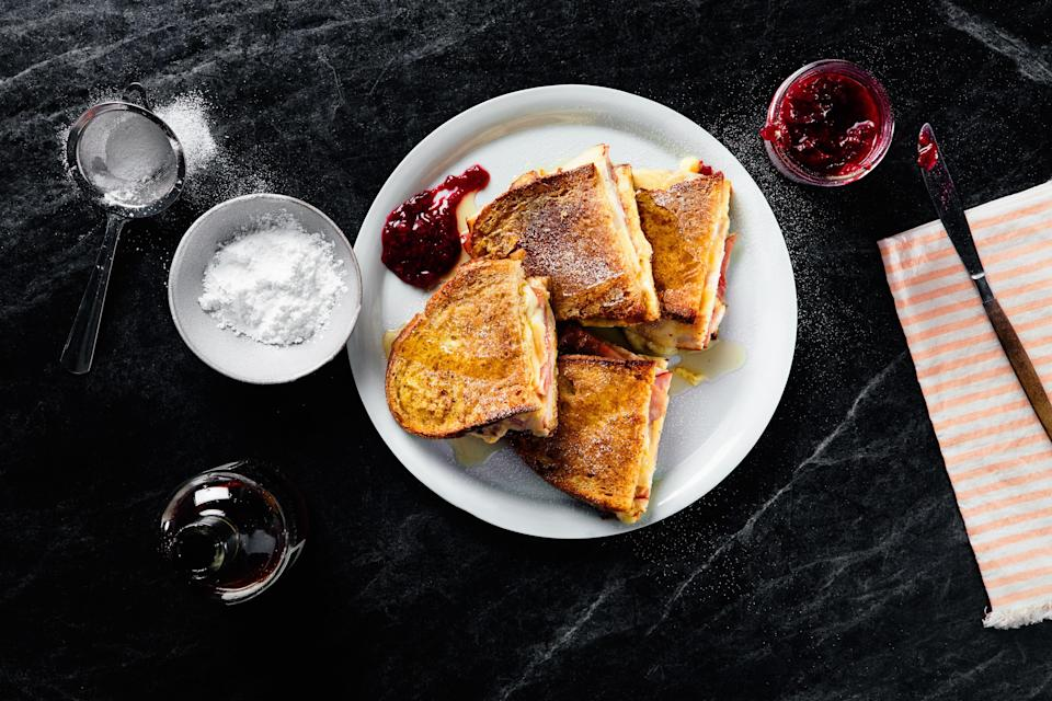 """Instead of deli smoked turkey, use your turkey leftovers to make this classic sandwich way better. <a href=""""https://www.epicurious.com/recipes/food/views/monte-cristo-sandwiches-237911?mbid=synd_yahoo_rss"""" rel=""""nofollow noopener"""" target=""""_blank"""" data-ylk=""""slk:See recipe."""" class=""""link rapid-noclick-resp"""">See recipe.</a>"""