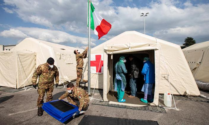 The field hospital in Crema, northern Italy, where Cuban doctors have been treating Covid-19 patients