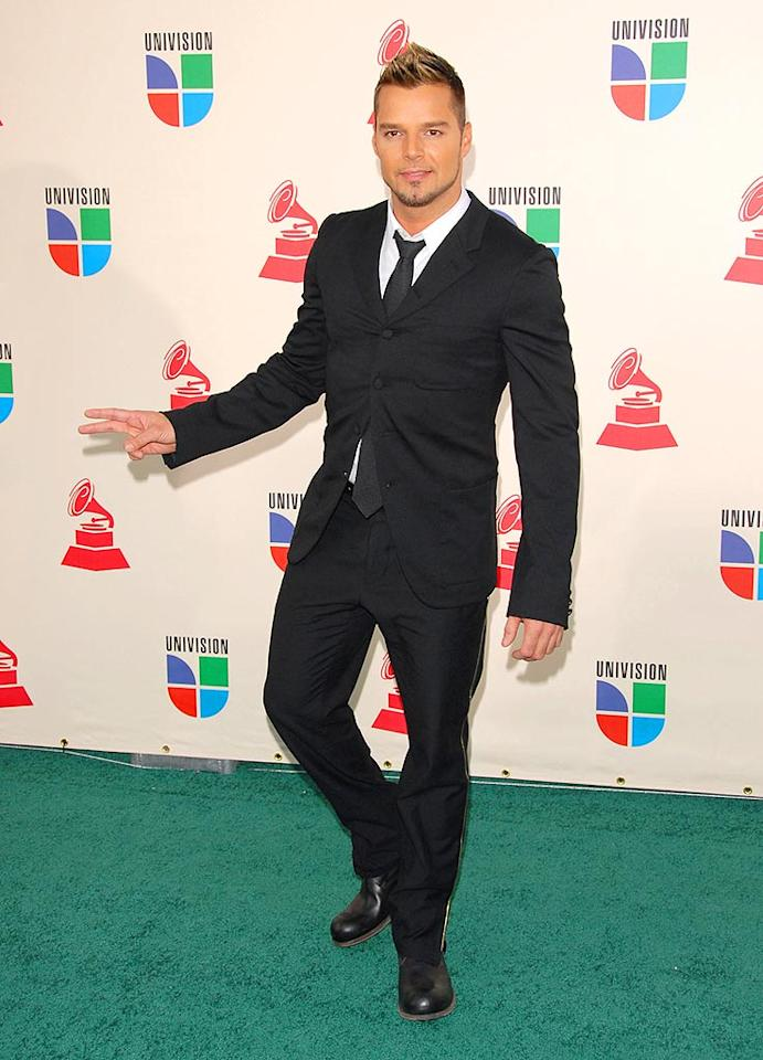 "International pop superstar Ricky Martin arrives at the 8th Annual Latin GRAMMY Awards in Las Vegas, NV. The ""She Bangs"" singer danced off with two trophies, including a win for Best Male Pop Vocal Album for his ""MTV Unplugged"" effort. Devan/<a href=""http://www.infdaily.com"" target=""new"">INFDaily.com</a> - November 8, 2007"