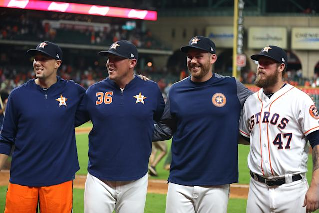 Aaron Sanchez, left, started the Astros combined no-hitter on Aug. 3. (Bob Levey/Getty Images)