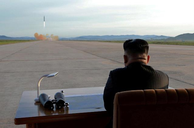 Kim Jong Un watches the launch of a Hwasong-12 missile in an undated photo released by the Korean Central News Agency on Sept. 16, 2017. (Photo: KCNA via Reuters)