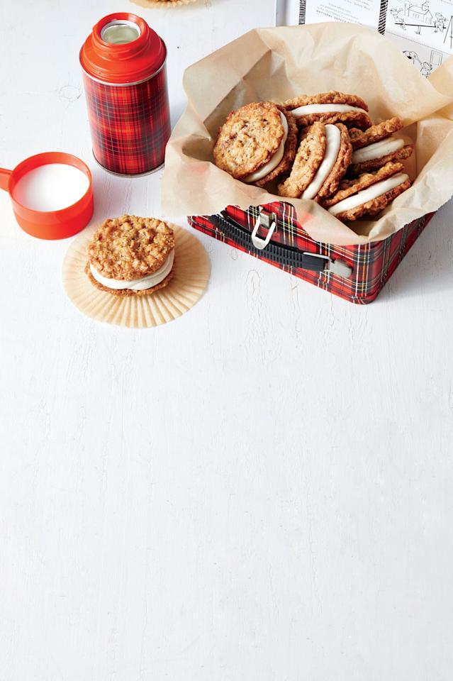 """<p><strong>Recipe: <a href=""""http://www.southernliving.com/recipes/oatmeal-caramel-cream-pies-recipe"""">Oatmeal-Caramel Cream Pies</a></strong></p> <p>This nostalgic, childhood favorite gets an upgrade in this recipe. Packed with a salty-sweet caramel filling, these cream pies are worthy of the highest praise. </p>"""