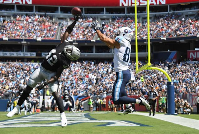 <p>Oakland Raiders strong safety Karl Joseph (42) deflects a pass intended for Tennessee Titans wide receiver Eric Decker (87) in the second quarter during a NFL football game at Nissan Stadium. Mandatory Credit: Kirby Lee-USA TODAY Sports </p>