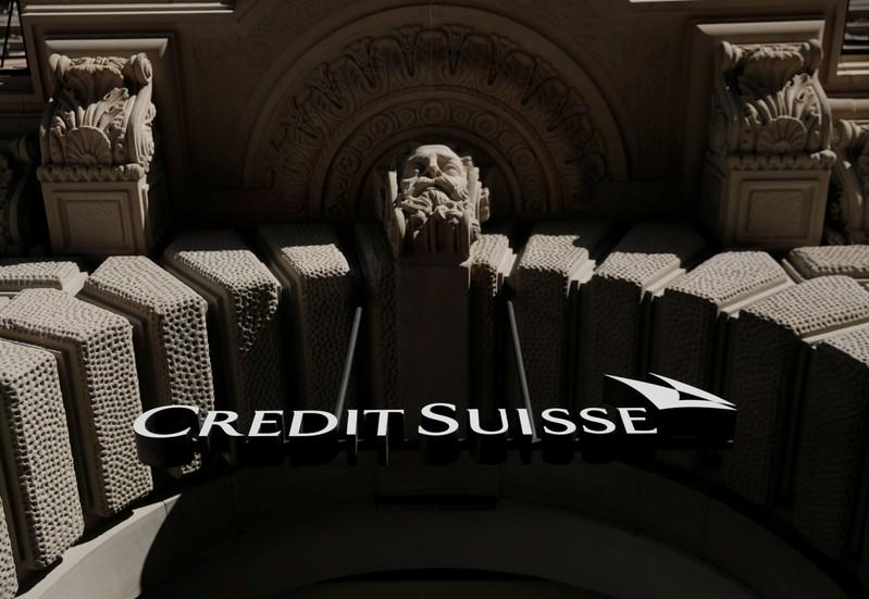 FILE PHOTO: Logo of Swiss bank Credit Suisse at its Zurich headquarters