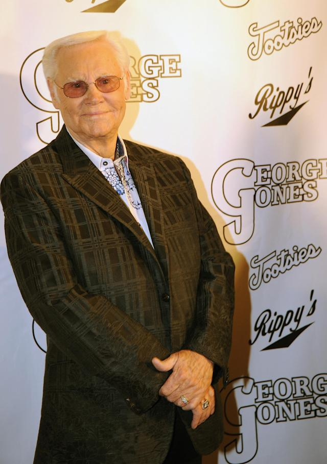 NASHVILLE, TN - FILE: Country Music Legend George Jones celebrates at his, George Jones' 80th birthday party at Rippy's Bar & Grill on September 13, 2011 in Nashville, Tennessee. Country singer George Jones has been hospitalized for an upper respiratory infection May 21, 2012 in Nashville, Tennessee and has canceled upcoming tour dates. (Photo by Rick Diamond/Getty Images)