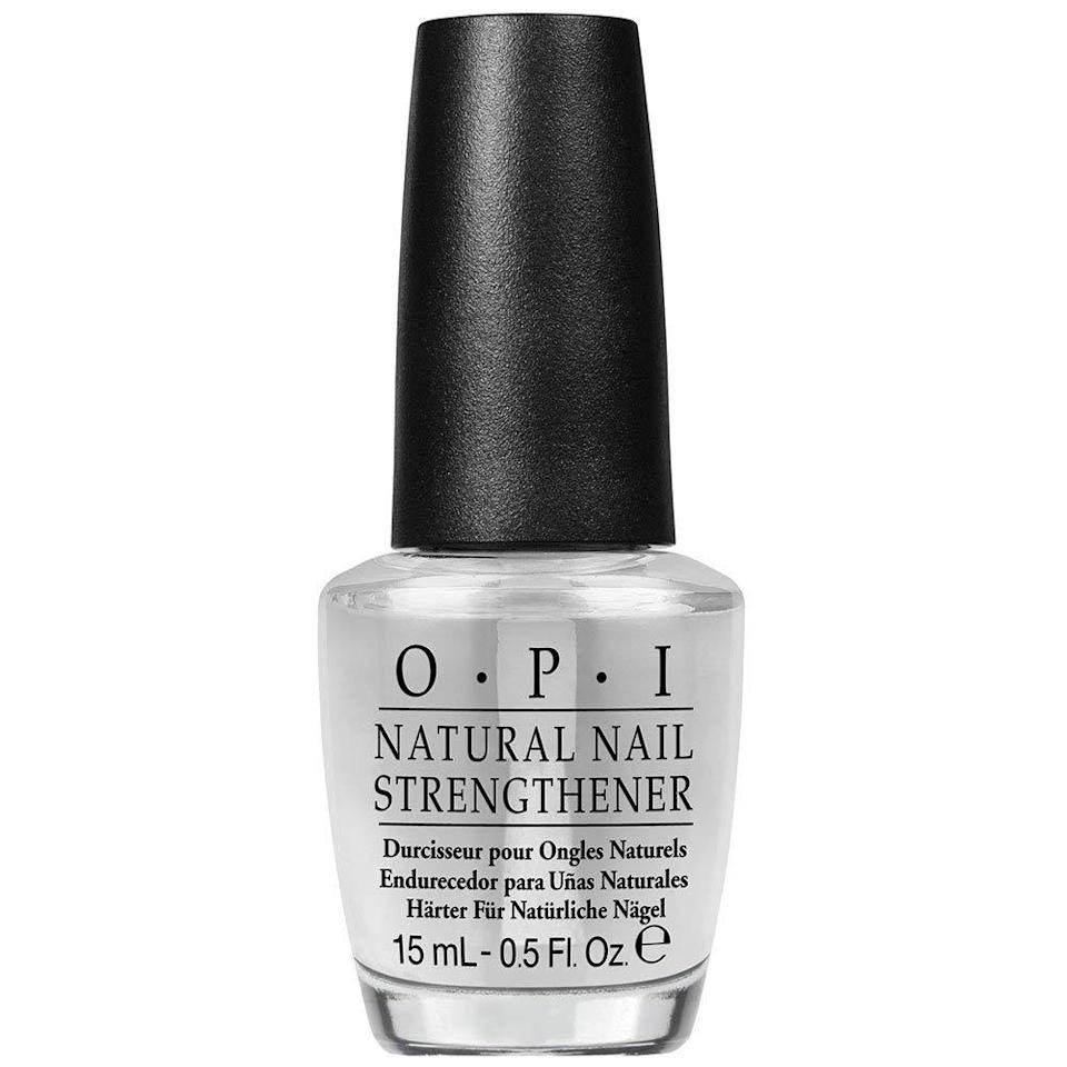 """<h3>OPI Natural Nail Strengthener<br></h3><br>If you want a strength aid that you can pick up at your local CVS, this <a href=""""https://www.refinery29.com/en-us/2021/02/10317990/opi-nails-impress-press-on-manicure"""" rel=""""nofollow noopener"""" target=""""_blank"""" data-ylk=""""slk:$10 OPI"""" class=""""link rapid-noclick-resp"""">$10 OPI</a> clear polish will help you grow your nails long and strong in just a few weeks. Simply paint a single layer on clean, dry nails weekly — maybe while you're binging <em><a href=""""https://www.refinery29.com/en-us/2021/02/10323728/what-did-georgia-do-ginny-and-georgia-episode-10-ending"""" rel=""""nofollow noopener"""" target=""""_blank"""" data-ylk=""""slk:Ginny & Georgia"""" class=""""link rapid-noclick-resp"""">Ginny & Georgia</a></em>.<br><br><strong>OPI</strong> Natural Nail Strengthener, $, available at <a href=""""https://go.skimresources.com/?id=30283X879131&url=https%3A%2F%2Fwww.ulta.com%2Fnatural-nail-strengthener%3FproductId%3DxlsImpprod5180293%26sku%3D6051191%26cmpid%3DPS_Non%21google%21Product_Listing_Ads%26cagpspn%3Dpla%26CATCI%3Dpla-443250394705%26CAAGID%3D38680672265%26CAWELAID%3D1888492522%26CATARGETID%3D330000200001409923%26cadevice%3Dc%26gclid%3DEAIaIQobChMIs5Xz54ys3wIVWEwNCh0teAfMEAQYCyABEgKbVfD_BwE"""" rel=""""nofollow noopener"""" target=""""_blank"""" data-ylk=""""slk:Ulta Beauty"""" class=""""link rapid-noclick-resp"""">Ulta Beauty</a>"""
