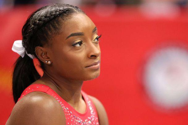 PHOTO: Simone Biles looks on during warm ups prior to the Women's competition of the 2021 U.S. gymnastics Olympic trials in St. Louis, June 27, 2021. (Carmen Mandato/Getty Images, FILE)
