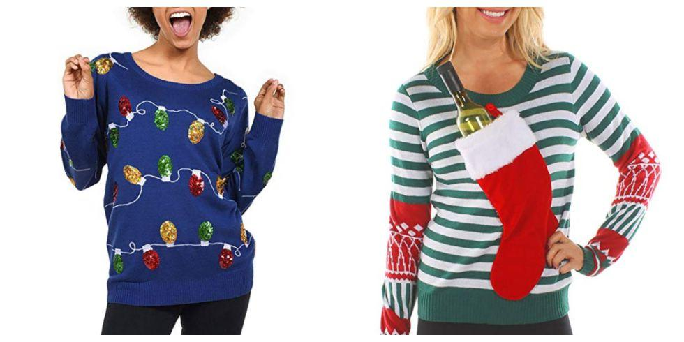 """<p>When it comes to <a rel=""""nofollow"""" href=""""https://www.countryliving.com/diy-crafts/g4967/diy-ugly-christmas-sweater-ideas/"""">ugly Christmas sweaters</a>, we say go big or go home. Enter these silly styles featuring sequins, funny phrases, and festive embellishments that make <a rel=""""nofollow"""" href=""""https://www.countryliving.com/shopping/news/g4861/best-gag-gifts/"""">great gag gifts</a>. From classic ugly Christmas sweaters (which are actually pretty cute) to one-of-a-kind designs, these sweaters will put everyone else's pullovers to shame at the <a rel=""""nofollow"""" href=""""https://www.countryliving.com/diy-crafts/how-to/g2218/christmas-party-ideas/"""">holiday party</a> this year.</p>"""