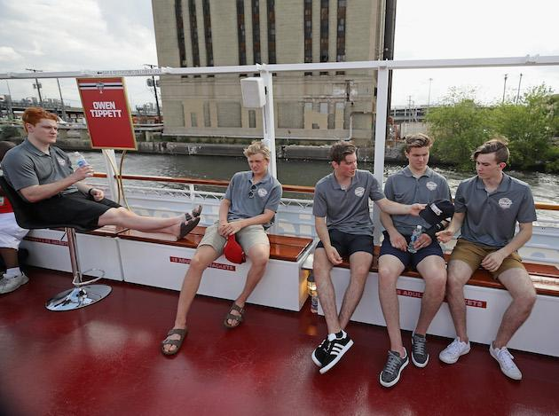 CHICAGO, IL – JUNE 22: (L-R) Owen Tippett, Casey Mittelstadt, Nolan Patrick, Michael Rasmusen and Cody Glas enjoy the ride uring the 2017 NHL Draft top prospects media availabilty on the Bright Star Boat on the Chicago River on June 22, 2017 in Chicago, Illinois. (Photo by Jonathan Daniel/Getty Images)