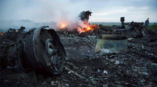 The fiery crash scene of Malaysia Airlines flight MH17. Photo: AAP