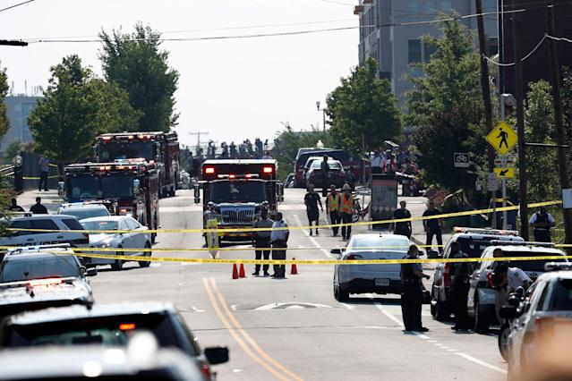 <p>Alexandria, Va. Police and other first responders block East Monroe Ave. in Alexandria, Va., Wednesday, June 14, 2017, after a shooting involving House Majority Whip Steve Scalise of La, at a congressional baseball practice. (Photo: Alex Brandon/AP) </p>