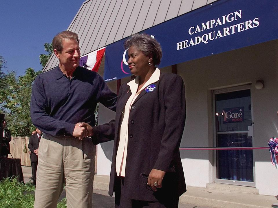 Vice President Al Gore introduces his new presidential campaign manager, Donna Brazile, in Nashville, Tenn., in 1999.