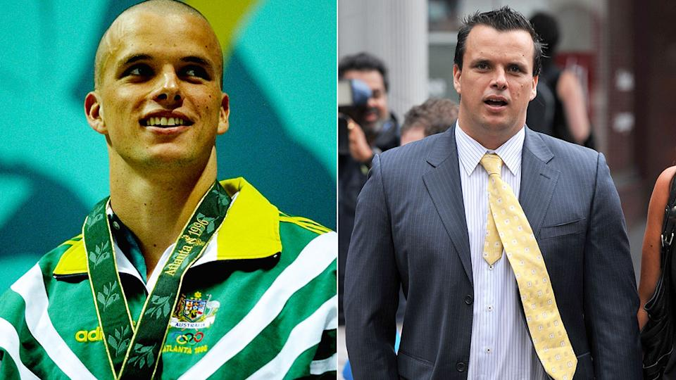 Pictured here, former Olympian Scott Miller in his swimming days and outside court in 2014.