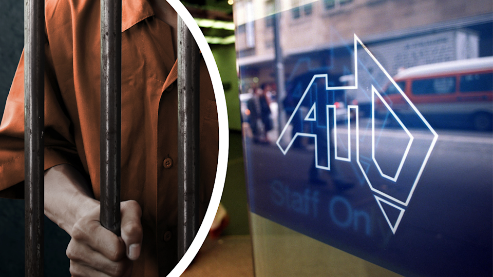 A man depicted behind bars and the ATO logo