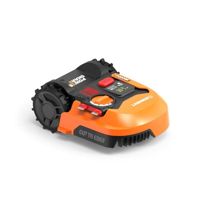 Orange and white robotic electric lawn mower from WORX