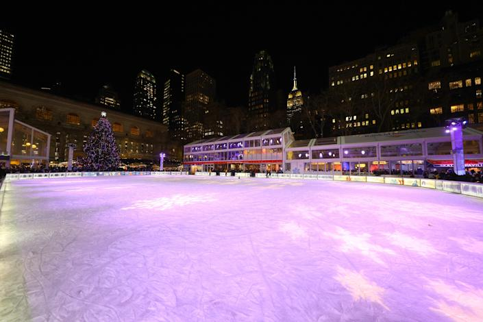 The ice skating rink at the Winter Village in Bryant Park waits for skaters. (Photo: Gordon Donovan/Yahoo News)