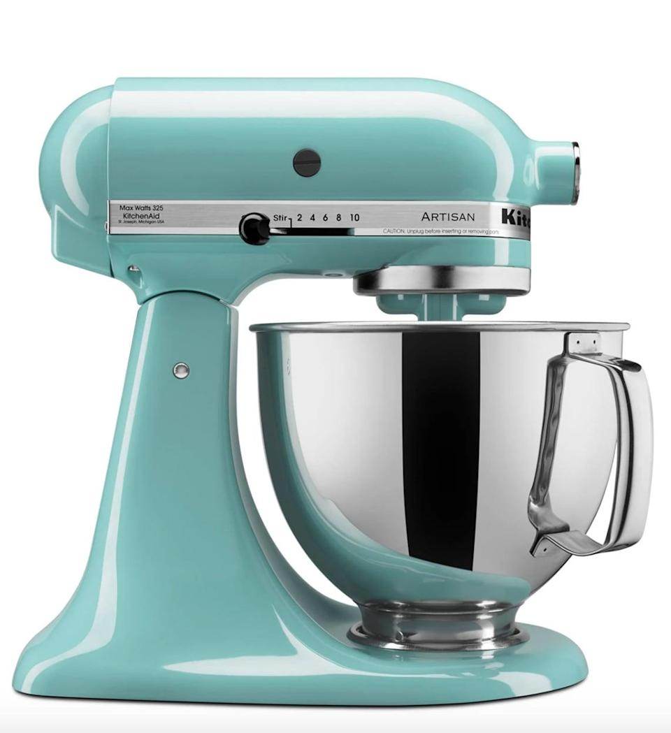 <p>If you love to bake or need an extra hand in the kitchen, the <span>KitchenAid Artisan 5 Qt. Stand Mixer</span> ($430) will be your new best friend. It includes flat beater, wire whip, dough hook, pouring shield and five-quart polished bowl with ergonomic handles.</p>