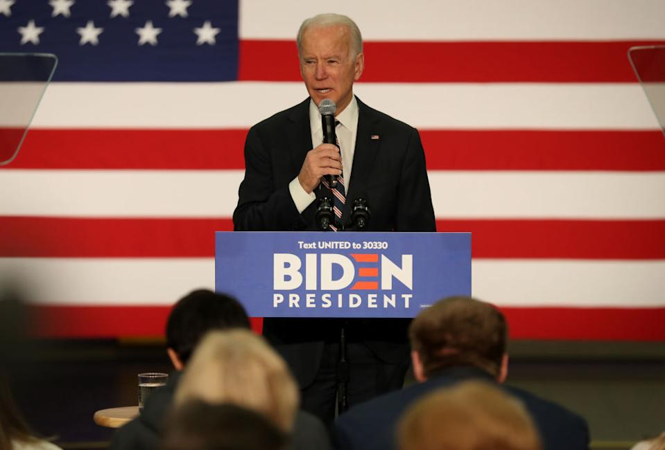WAUKEE, IOWA - JANUARY 30: Democratic presidential candidate former Vice President Joe Biden speaks during a campaign event at Vince Meyer Learning Center on January 30, 2020 in Waukee, Iowa. With less than a week to go before the 2020 Iowa Presidential caucuses, Joe Biden is campaigning across Iowa.