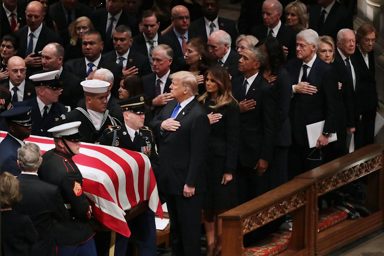 President Donald Trump, first lady Melania Trump and former presidents, vice presidents, first ladies and spouses attend the state funeral for Bush.