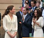 <p>The Duchess of Cambridge donned this sailor knit sweater dress by Alexander McQueen in Canada in July 2011, bringing the look back to attend Wimbledon in July 2012. </p>