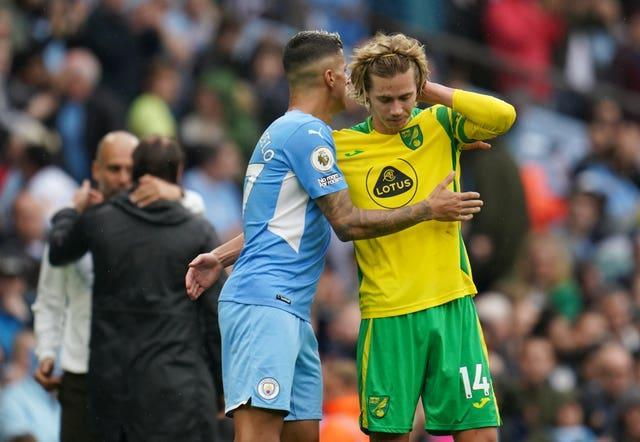Todd Cantwell shows his disappointment after Norwich's 5-0 defeat at Manchester City