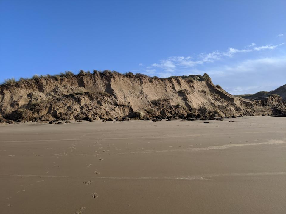 Damaged to the dune cliffs at Formby from storm Ciara in February (Isabelle Spall/National Trust/PA)