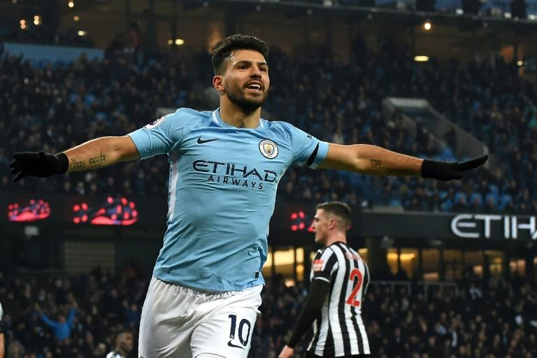 Manchester City's striker Sergio Aguero celebrates after scoring the opening goal of the English Premier League football match between against Newcastle United January 20, 2018