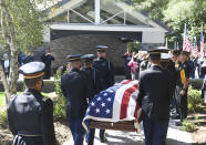 Korean War veteran Army Cpl. Walter Smead, a member of Battery A, 57th Field Artillery Battalion, 7th Infantry Division who was killed during the 1950 Battle of the Chosin Reservoir, is laid to rest with full military honors at Gerald B. H. Solomon Saratoga National Cemetery, on Monday, Sept. 20, 2021, in Schuylerville, N.Y. Smead was finally laid to rest near his rural upstate New York hometown, seven decades after he was killed in the Korean War and months after his remains were finally identified with help from DNA analysis. (AP Photo/Hans Pennink)