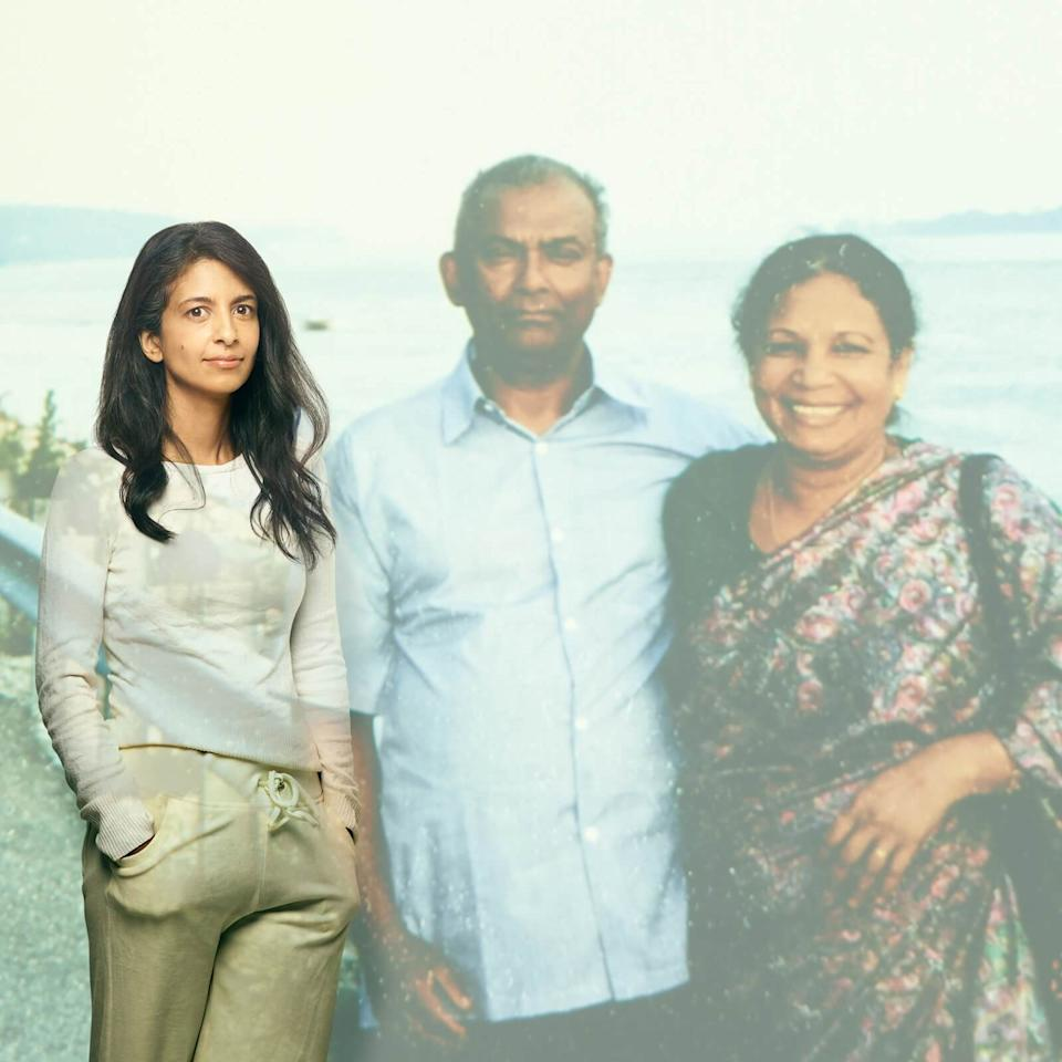 Konnie Huq poses with a projection of her late parents (Lost For Words/Royal London)