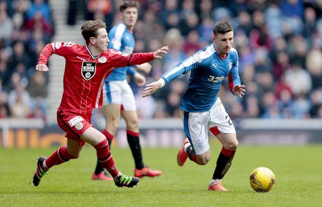 Football Soccer - Rangers v St Mirren - Ladbrokes Scottish Championship - Ibrox - 27/2/16 Rangers' Michael O'Halloran (R) in action with St Mirren's Kyle McAllister Mandatory Credit: Action Images / Graham Stuart Livepic EDITORIAL USE ONLY.