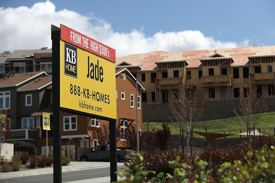 A sign is posted outside of a new housing development in Petaluma, California. (Photo: Justin Sullivan/Getty Images)