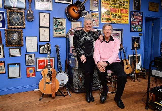 Kim Wilde joins her father Marty Wilde at his home in Hertfordshire