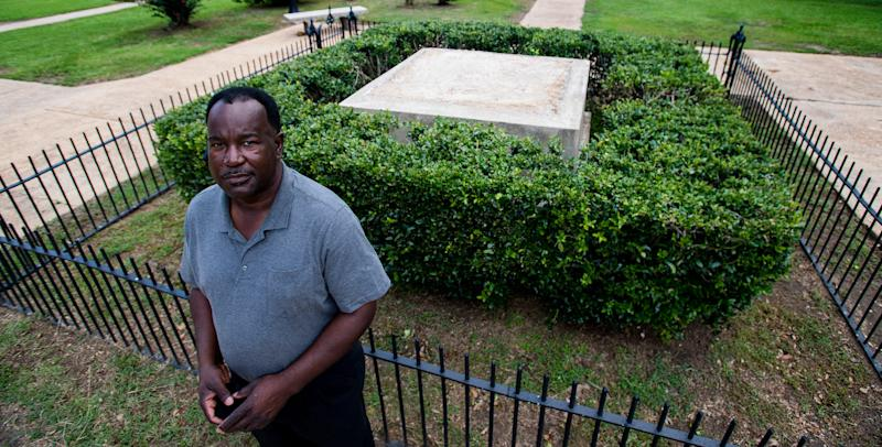 Lowndes County Commissioner Robert Harris stands near the spot where a Confederate monument once stood in Hayneville, Ala., on July 17, 2020. In June, the county commission unanimously voted to remove the monument, erected sometime before 1940.